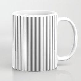 Ticking Narrow Striped Pattern in Dark Black and White Coffee Mug