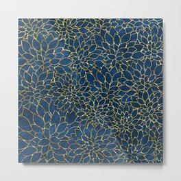 Floral Abstract 42 - Gold and Classic Blue Metal Print