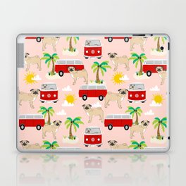 Pug beach mini van tropical palm tree surfing beach pet friendly dog breed dog art Laptop & iPad Skin