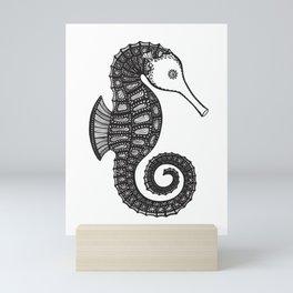 Seahorse Ink Art - sea animal design - black on white Mini Art Print