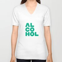 alcohol V-neck T-shirts featuring Alcohol by Bálint Magyar