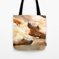 bears Tote Bags featuring Bears by Sylvia C