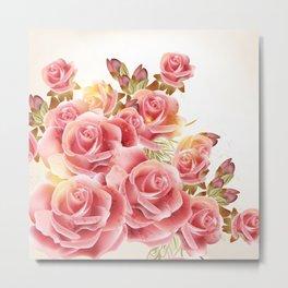 Artistic Pink Roses Metal Print