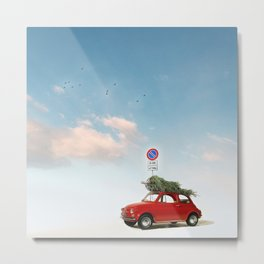 Fiat 500 for Christmas Metal Print
