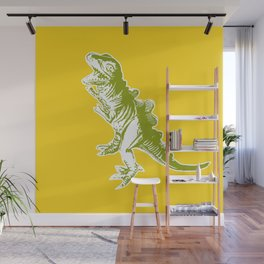 Dino Pop Art - T-Rex - Yellow & Olive Wall Mural