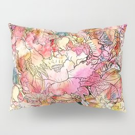 Summer Flowers | Colorful Watercolor Floral Pattern Abstract Sketch Pillow Sham