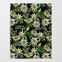 Vintage & Shabby Chic- Retro Passiflora Caerulea Pattern Poster