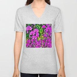 Purple Painterly Orchid Vines Unisex V-Neck