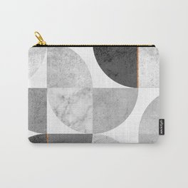 Marble Gray Copper Black and white circles Carry-All Pouch