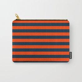 Orange Pop & Navy Blue Tent Stripe Carry-All Pouch