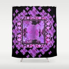 BLACK ART DECO  AMETHYST GEMS   DECORATIVE ART Shower Curtain
