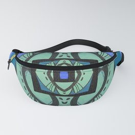 Retro Art Deco Color Therapy Healing Cool Tones Fanny Pack