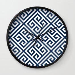 Greek Key Navy Wall Clock