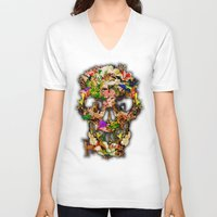 animal skull V-neck T-shirts featuring Floral Flower animal skull kingdom by KomarWork