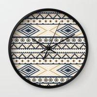 aztec Wall Clocks featuring AZTEC by Oksana Smith