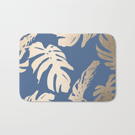 Simply Tropical Palm Leaves White Gold Sands on Aegean Blue Bath Mat