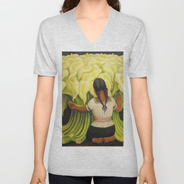 The Cuauhnāhuac Calla Lily Vendor by Diego Rivera Unisex V-Neck