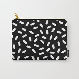 Bingo - black and white sprinkle retro modern pattern print monochromatic trendy hipster 80s style Carry-All Pouch