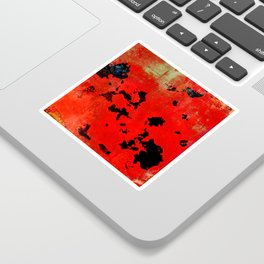 Red Modern Contemporary Abstract Textured Design Sticker