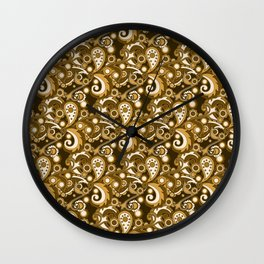 Golden Haze Paisley Wall Clock