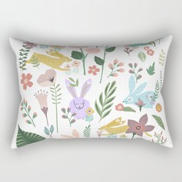Springtime In The Bunny Garden Of Floral Delights Rectangular Pillow