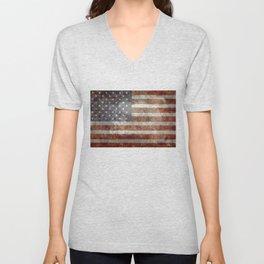 USA flag - Old Glory in dark grunge Unisex V-Neck
