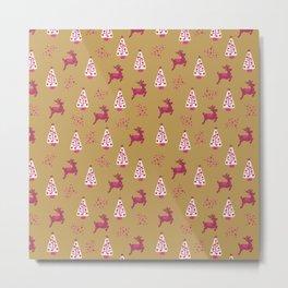 Pink reindeer and Christmas trees on gold Metal Print