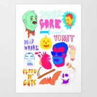 gore Art Prints featuring Super Gore by Nick Cocozza