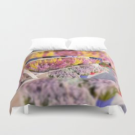 shelves with blooming heather Duvet Cover