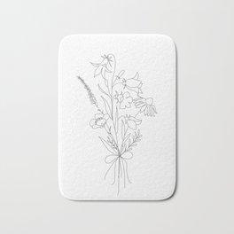 Small Wildflowers Minimalist Line Art Bath Mat