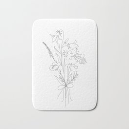Small Wildflowers Minimalist Line Art Badematte