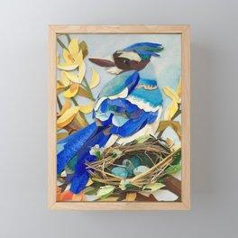 Blue Jay Bird Nest Framed Mini Art Print