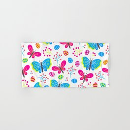 Easter Blue and Pink Butterfly Pattern Hand & Bath Towel