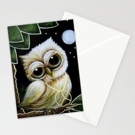 BLONDIE TINY OWL WITH PEACE PENDANT Stationery Cards