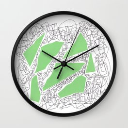 Collage green doodle Wall Clock