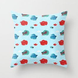 betta splendens fish mixture male female red blue teal Throw Pillow