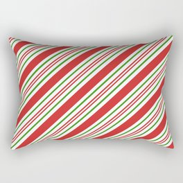 Red Green and White Candy Cane Stripes Thick and Thin Angled Lines Rectangular Pillow