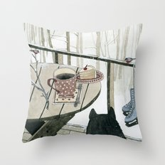 Winter Breakfast on the Porch Throw Pillow