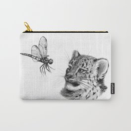 Snow leopard cub and dragonfy G148 Carry-All Pouch