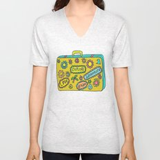 Let's Travel Retro Suitecase Unisex V-Neck
