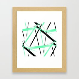 Criss Crossed Mint Green and Black Stripes on White Framed Art Print