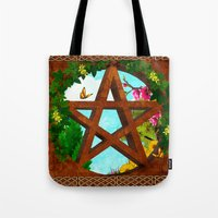 pagan Tote Bags featuring Oasis Pagan Folk Art by BohemianBound