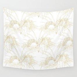Elegant tropical leaves golden strokes design Wall Tapestry
