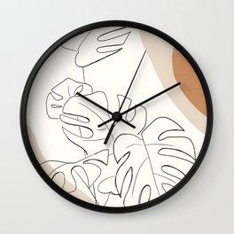 Minimal Abstract Art- Monstera 2 Wall Clock