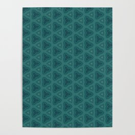 Dark Teal Textured Pattern Design Poster