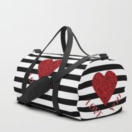 LOVE YOU Valentine print. Red glitter heart and black stripes congratulation card Duffle Bag