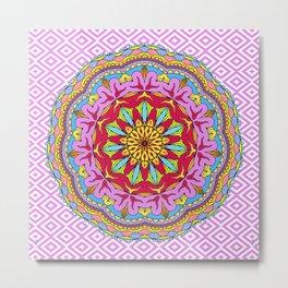 Mix&Match;  Pretty Pink Mandala Meditation pillow 02 Metal Print