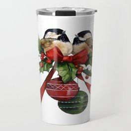 Vintage, Beautiful Christmas Birds Travel Mug