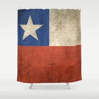 chile Shower Curtains featuring Old and Worn Distressed Vintage Flag of Chile by Jeff Bartels