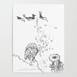 Two Tailed Duck and Jellyfish White Poster
